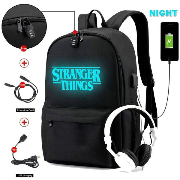 Stranger Things New Luminous Bookbag Students Canvas Waterproof Casual Shoulder Bag Travel Backpack School Bag with USB Charging Hole and Earphone Hole
