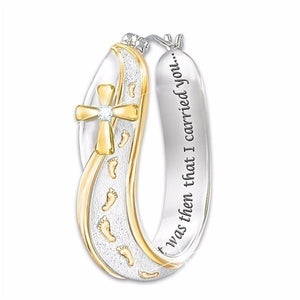 4Pcs/Set Gold & Silver Women Men Fashion Footprints Cross Engraved You Will Never Walk Alone Tag Necklace Engagement Wedding Jewelry Pendant Necklace Ring Earrings Jewelry Gifts