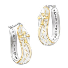 Load image into Gallery viewer, 4Pcs/Set Gold & Silver Women Men Fashion Footprints Cross Engraved You Will Never Walk Alone Tag Necklace Engagement Wedding Jewelry Pendant Necklace Ring Earrings Jewelry Gifts