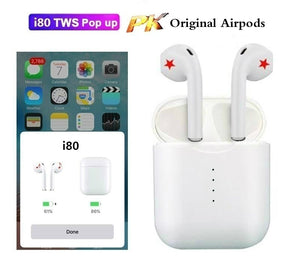 I80 TWS Pop-up Bluetooth 5.0 Earphone 1:1 Replica 4D Stereo Headset with Charge Box for Smartphone