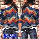 One Shouder Casual Soft Long Sleeve T-Shirt Women Cotton Tops Striped Blouse Plus Size XS-8XL