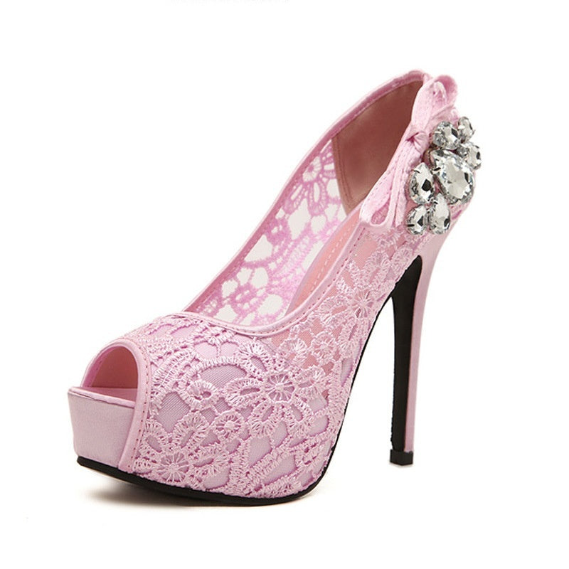 Eu 35-41/US 4-11 New Fashion Women's Korean Style Casual Lace Rhinestone Peep-toe High-heeled Shoes Women's Party Dress Formal Stilettos Shoes