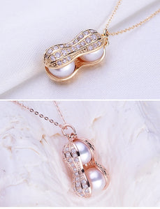 Necklace Jewelry Real Natural Freshwater pearls Peanut Pendant Necklace For Women Lowest Price 18K Gold Fine Jewelry Gold and silver