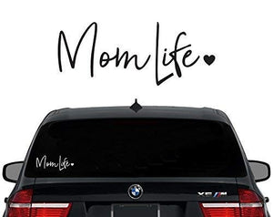 Mom Life Decal Vinyl Sticker|Cars Trucks Vans Walls Laptop| White |7.5 In|