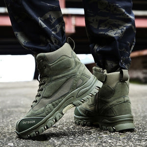 High Quality Mountain Climbing Military Tactical Boot Hiking Boots Men Waterproof Wear-resistant Army Men Commando Combat Desert Outdoor Sport Hunting Boot Plus Size 39-47