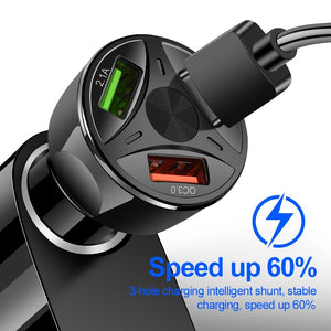 Car USB Charger Quick Charge 3.0 Mobile Phone Charger 3 Port USB Fast Car Charger for iPhone Huawei Samsung Xiaomi