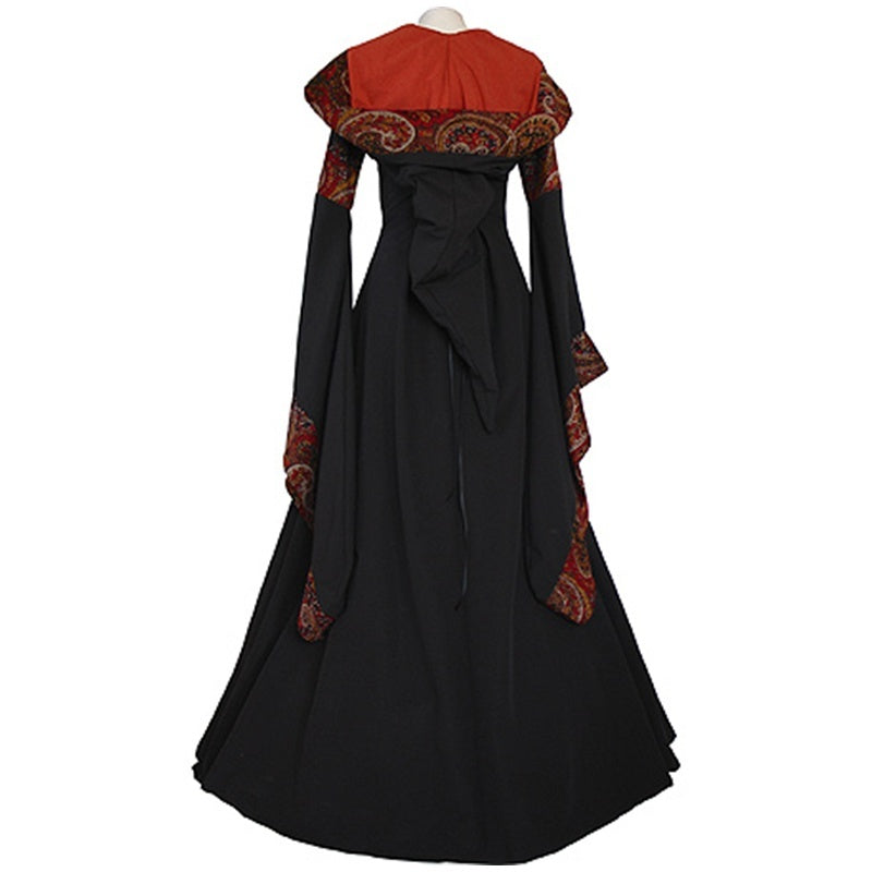 Women Vintage Medieval Long Sleeve Hooded Floor Length Celtic Dress Renaissance Gothic Dress Halloween Cosplay Costume