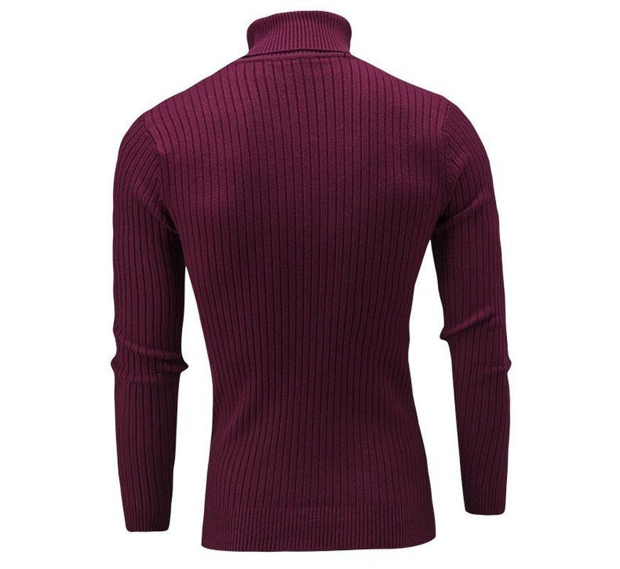 Men's Solid Color Turtleneck Sweater Striped Sweater Fashion Winter Warm Sweater