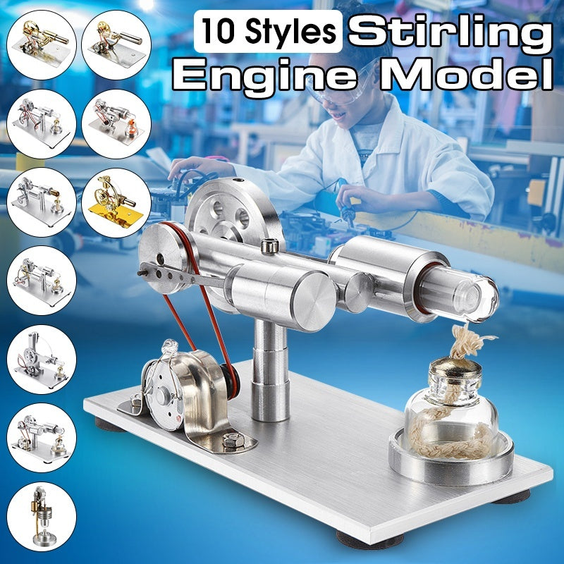 10 Styles  Hot Air Stirling Engine Motor Model Educational Toy Electricity Generator