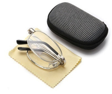 Portable Silver Folding Reading Glasses Black Case with Belt Clip +1.5 ~ 4.0