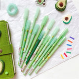 2pcs Kids Gifts Cute School Supplies Stationery Green Avocado Needle Pen Cute Writing Instrument Gel Pen Signature Pen Black Ink