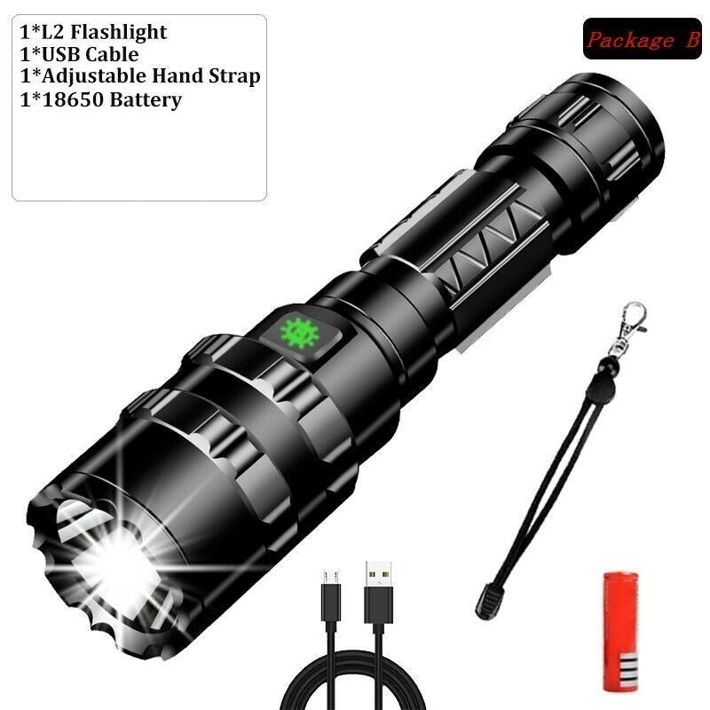 Ultra Bright 90000LM L2 LED Flashlight Rechargeable 5 Modes Tactical Torch 18650