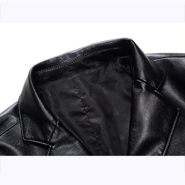 Large Size Leather Suit Loose Lapels Leather Jacket Men's Large Size Leather Casual Jacket Leather Suit