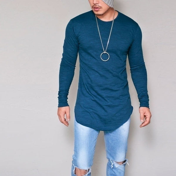 Men Casual T Shirt Cotton Long Sleeve O-Neck Silm Fit T-shirt Mens Fashion Solid Color Tshirt Men's Clothing