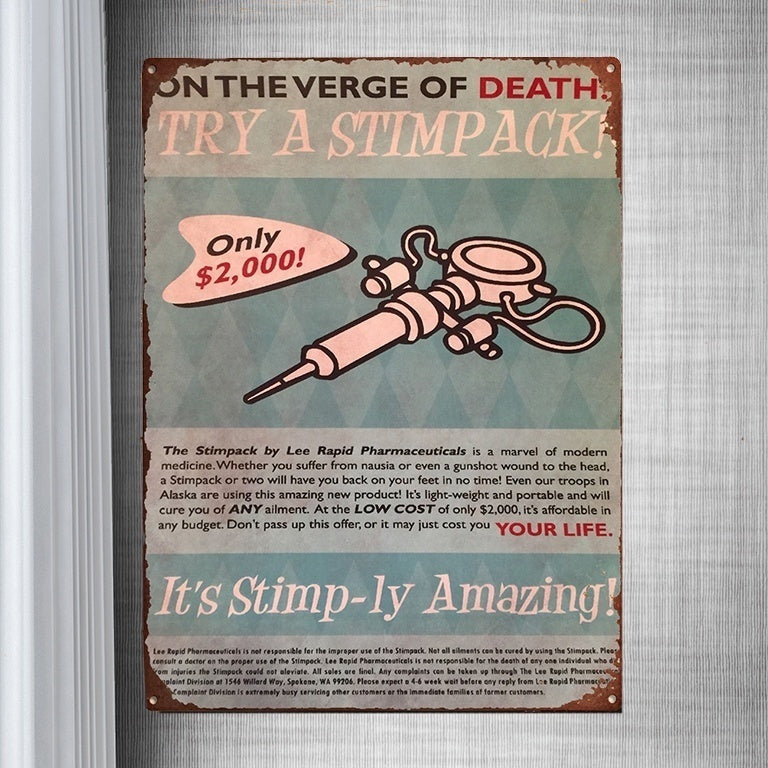 Tin Sign Vintage Fallout On The Verge Of Death Try A Stimpack Vintage Metal Tin Sign Retro Tin Plate Sign Wall Art Decor