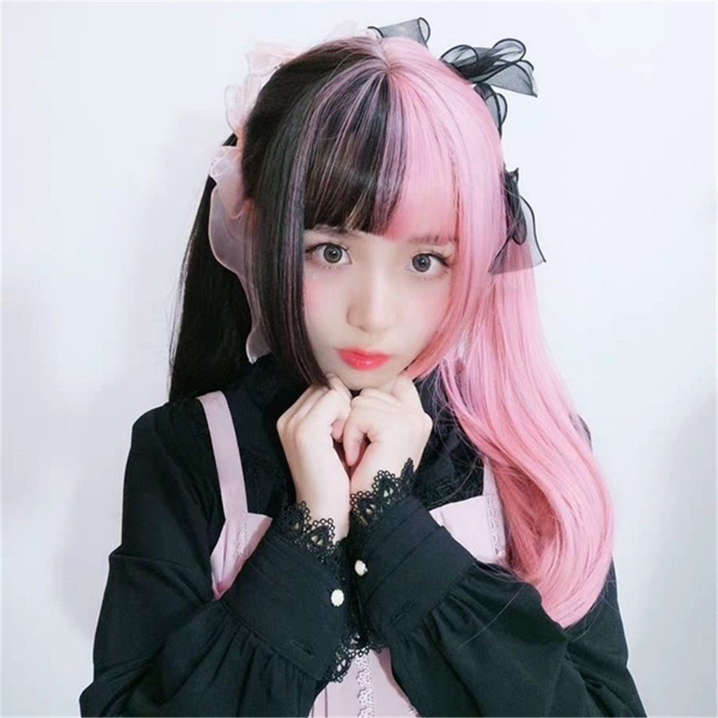 Women Japan Cute Long Straight Hair Black Mixed Pink White Gray Ombre Heat Resistant Synthetic Cosplay Lolita Wigs