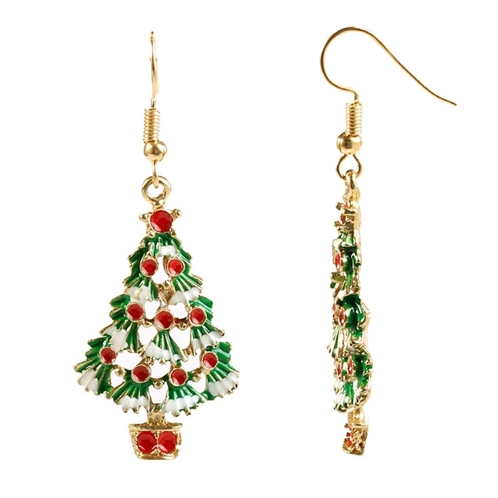 1 pair Charm Crystal Christmas Tree Shape Dangle Hook Stud Earrings For Wedding Party Christmas Jewelry Gift
