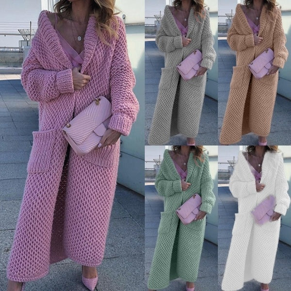 New Women Fashion Long Sleeve Solid Color Autumn Winter Hooded Thick Knitted Sweater Cardigan Coat Casual Womens Loose Pocket Cloak Outwear Long Coat Plus Size