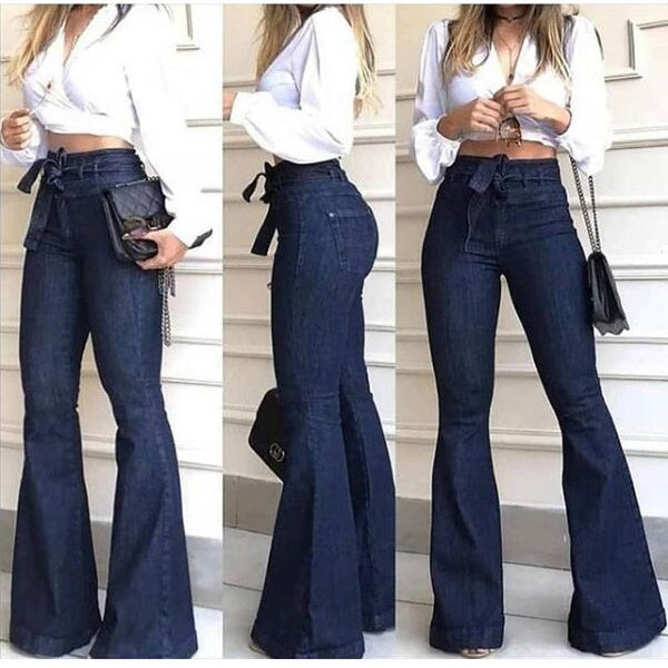 Women's Classic Juniors Bell Bottom High Waist Fitted Denim Jeans
