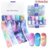10 Rolls/Box Starry Sky Stars Nail Art Stickers Floral Tips Wrap Transfer Wraps Nail Decals