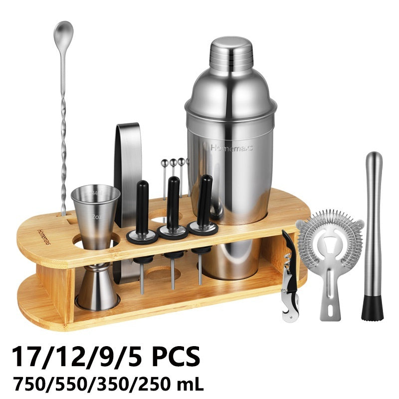 17/12/9/5pcs Stainless Steel Cocktail Kit Shaker Mixer Drink Bartender Martini Bar Set 750/550/350/250ml