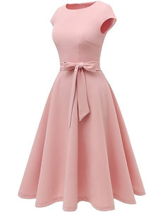 Women's Fashion Vintage Soild Color Elegant Tea Dress Prom Swing Cocktail Party Dress with Cap-Sleeves Midi Dress Plus Size