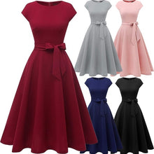 Load image into Gallery viewer, Women's Fashion Vintage Soild Color Elegant Tea Dress Prom Swing Cocktail Party Dress with Cap-Sleeves Midi Dress Plus Size