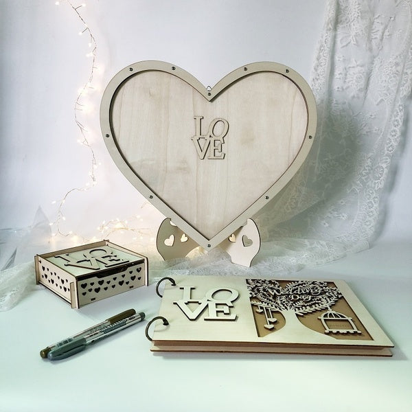 Wedding Guest Book Memorial Book Drop Top Frame Sign Book Wooden Hearts, Rustic Wedding Decorations and The Wedding Gift