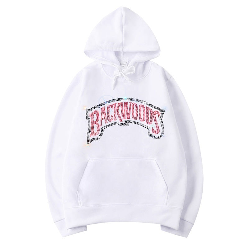 Spring and Winter New Hoodie for Women Men Rhinestone Backwoods Hoodies Solid Color Loose Sweatshirts Hooded Pullover Casual Tops