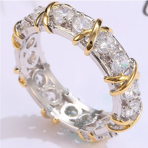 New women's ring luxury simple sub gold inlaid with zircon silver ring for girls
