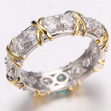 Load image into Gallery viewer, New women's ring luxury simple sub gold inlaid with zircon silver ring for girls