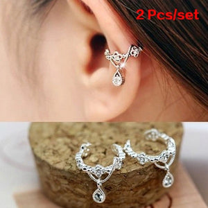 1 Pair Cute Without Pierced Ear Bone Folder Punk Fashion Ear Cuff Wrap Rhinestone Cartilage Clip On Earring Non Piercing