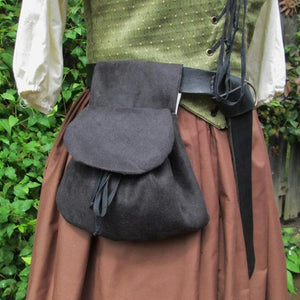 Medieval Viking Style Suede Leather Waist Bag Renaissance Vintage Lace-up Closure Leather Purse Belt Bag Fashion Hip Bag Fantasy Larp Pirate Bag Cosplay Accessories (not Including Leather Belt)