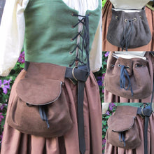 Load image into Gallery viewer, Medieval Viking Style Suede Leather Waist Bag Renaissance Vintage Lace-up Closure Leather Purse Belt Bag Fashion Hip Bag Fantasy Larp Pirate Bag Cosplay Accessories (not Including Leather Belt)