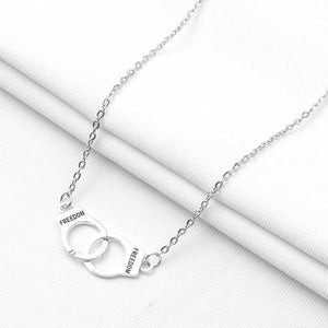 New Shiny Silver Gold Alloy intersect Chain handcuffs Pendant Necklace