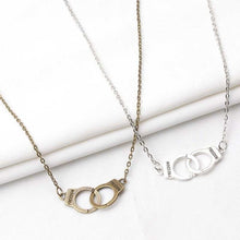 Load image into Gallery viewer, New Shiny Silver Gold Alloy intersect Chain handcuffs Pendant Necklace