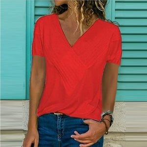 New Summer Slim Fit Panel V-neck Short Sleeve Solid Color T-shirt Womens Tops