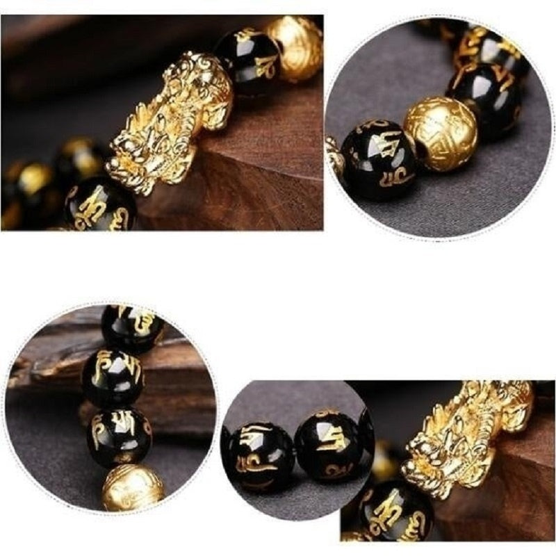 Men Black Obsidian Wealth Bracelet Buddhism Feng Shui Best Gift for Parents