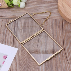 Creative Chain Retro Metal Photo Frame High Translucent Glass Photo Frame Specimen Folder 2 Size Optional CAD