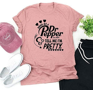 New Fashion Women Summer Dr Pepper T-Shirt Bring Me A Dr Pepper Tell Me I'm Pretty Letter Print Short Sleeve Tops Loose Round Neck Casual Tee Shirts Cute Cotton Tees Plus Size XS-5XL 5 Colors