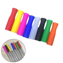 Load image into Gallery viewer, 40/20pcs Caps Anti Burn Teeth Protector Bar Reusable Silicone Straw Sleeve Food Grade Accessories Silicone Tip