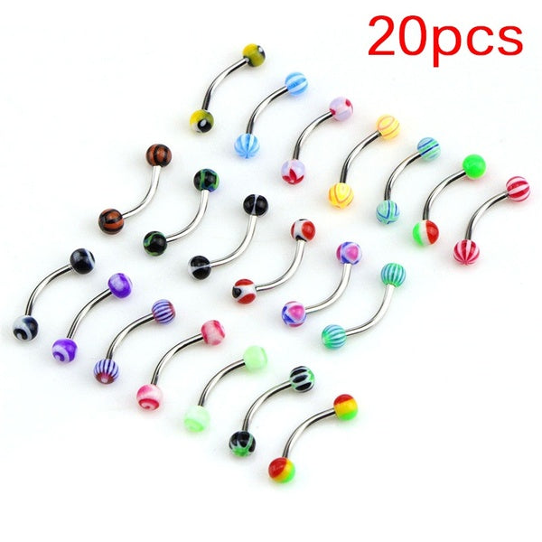 20PCS Stainless Steel Ball Barbell Curved Eyebrow Rings Bars Tragus Piercing
