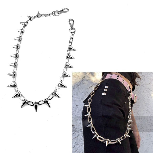 Punk Spike Jeans Pants Chain Secure Travel Wallet Chain Link Coil Leash Jewelry SAO