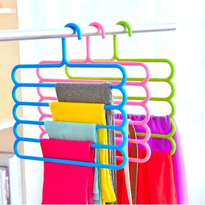 5 Layers Space Saving Pants Racks Closet Organizer Pants Hangers Holders for Trousers Towels Scarf Tie Clothes Organizer Magic Racks