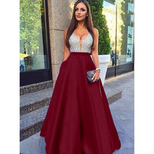 Load image into Gallery viewer, Women Fashion Elegant Formal Lace V Neck Chiffon Prom Dress Sexy Loose Sleeveless Dresses Evening Party Dress