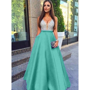 Women Fashion Elegant Formal Lace V Neck Chiffon Prom Dress Sexy Loose Sleeveless Dresses Evening Party Dress