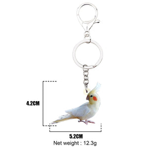 Acrylic Cockatiel Parrot Bird Key Chain Ring Keychains Fashion Animal Jewelry For Women Girls Bag Pendant Gift Decoration