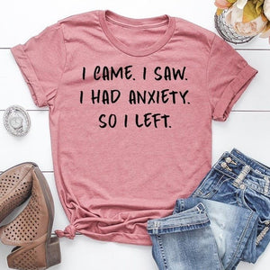 I Came I Saw I Had Anxiety So I Left Letter Print Women T-shirt Funny Saying Shirts Summer Fashion Short Sleeve Sassy T-Shirt Women Casual Round Neck Tee Cotton Shirt Solid Colours Pullover Top Loose Shirt Plus Size XS-5XL 5 Color