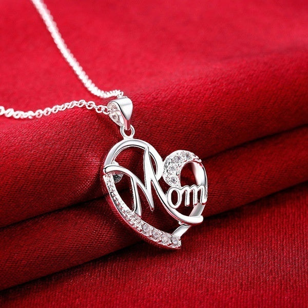 2Pcs Mom Necklace 925 Sterling Silver 14K Rose Gold Plated Heart Shape Mom Pendant Crystal Necklace Mother'S Day Gifts