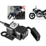 Fashion Dual USB Port 12-24V/9-90V Waterproof Motorbike Motorcycle Handlebar Charger Adapter Power Supply Socket for Phone Mobile USB charger  (You can choose to buy an Iphone charging cable)